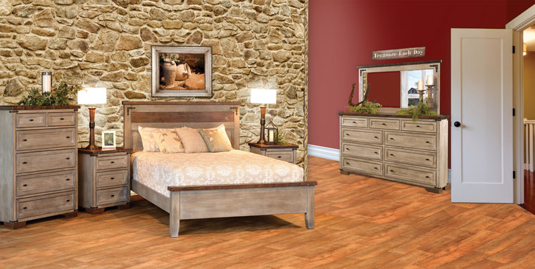 The Farmhouse Heritage Collection is about more than exquisite bedroom furniture. It is about a legacy of love, integrity and ethics. Handcrafted from a magnificent barn structure, this uniquely outstanding suite is created to be a timeless heirloom that will last for generations to come. Shown here in rustic cherry with reclaimed oak tops.